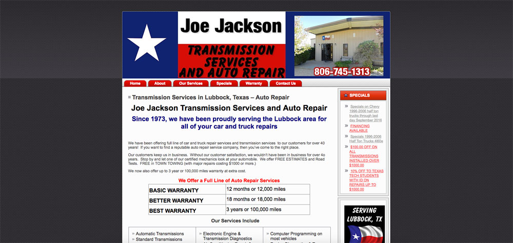 Joe Jackson Transmissions